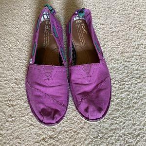 Toms purple stichout slip-ons